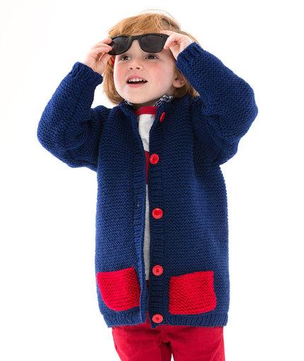 Too Cool Boy's Cardigan Free Knitting Pattern