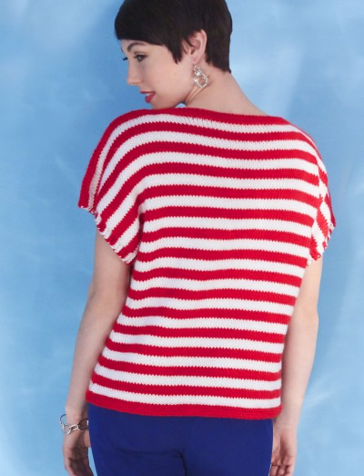 Womens Boatneck Striped Top Free Knitting Pattern Knitting Bee
