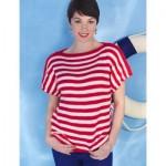 Women's Boatneck Striped Top Free Knitting Pattern