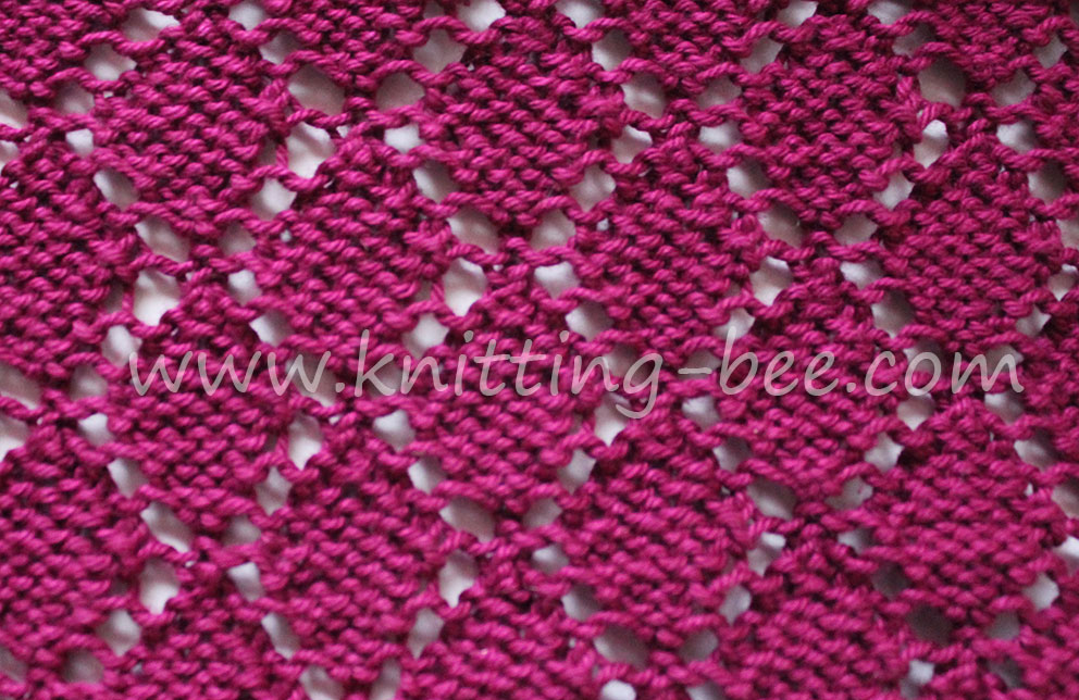 Free lace knitting stitch by https://www.knitting-bee.com/