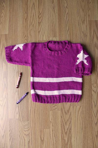 Star Pullover for Little Girls Free Knitting Pattern