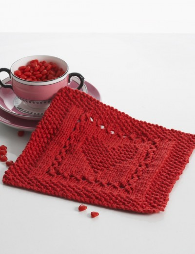 heart knitting dishcloth