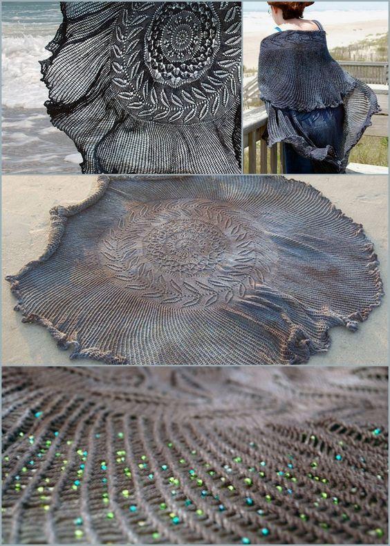 shipwreck shawl free lace and bead knitting pattern