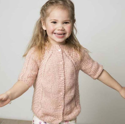 Young Child's Short Sleeved Cardigan Knitting Pattern Free