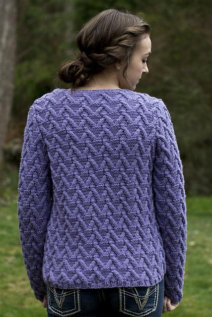 Allison Cabled Cardigan Knitting Pattern back