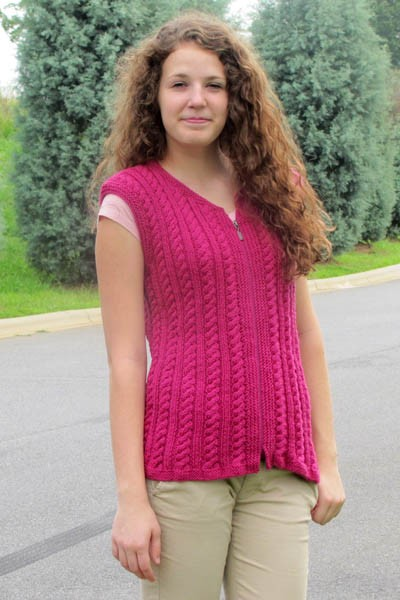 Cable and rib vest free knitting pattern