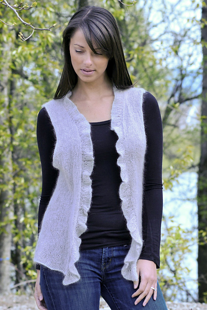Cardigan with Frill Free Knit Pattern