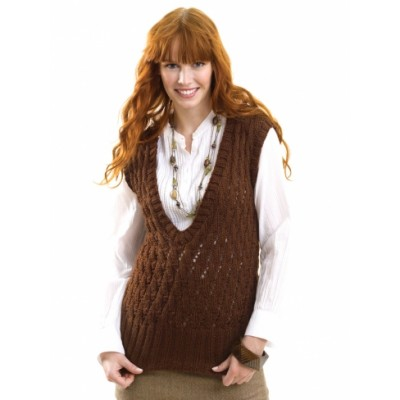 Caron Cabled Vest Free Knitting Pattern