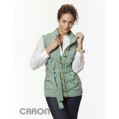 Caron Long Cabled Vest Knit Free Pattern