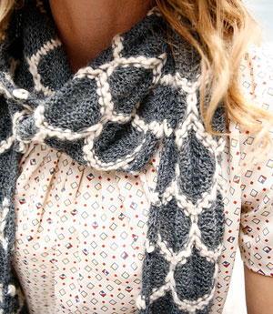 Chakna color work free scarf knitting pattern