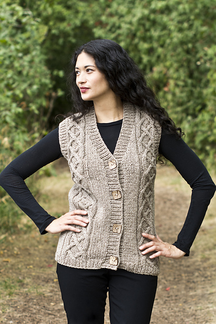 Chester Vest Celtic Cabled Free Knit Pattern Knitting Bee