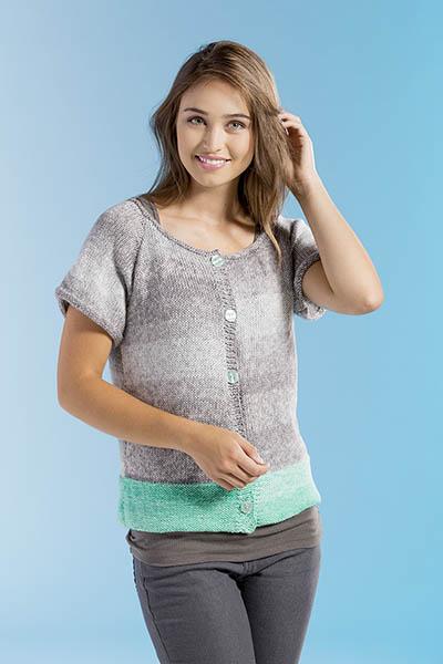 Dip-Dyed Cardigan Free Knitting Pattern front