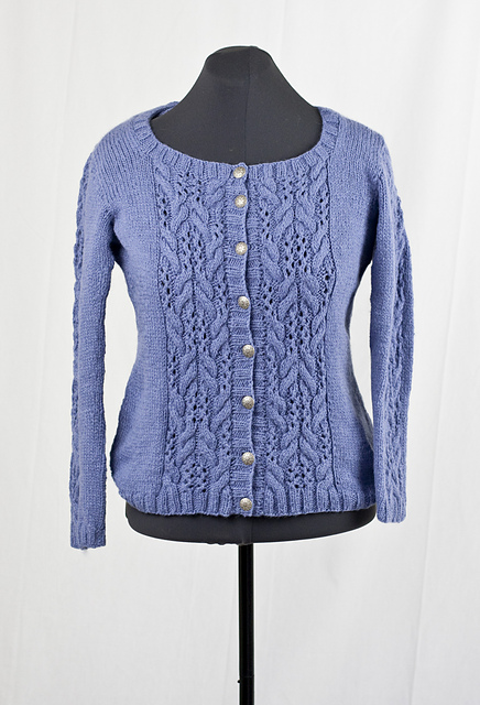 Everyday Cardigan with Lace and Cable Stitch Feature