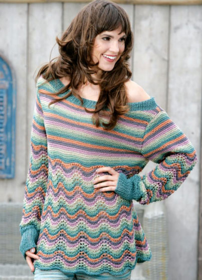 Feather and fan stitch pullover free knitting pattern