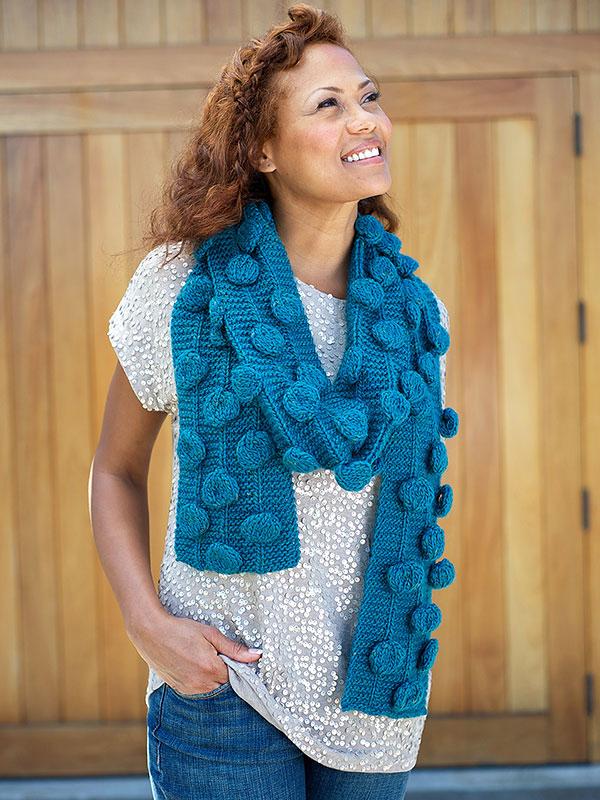 Gerard Bobble Scarf Free Knitting Pattern