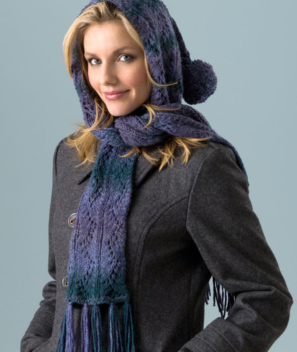 Hooded Lace Scarf Free Knitting Pattern