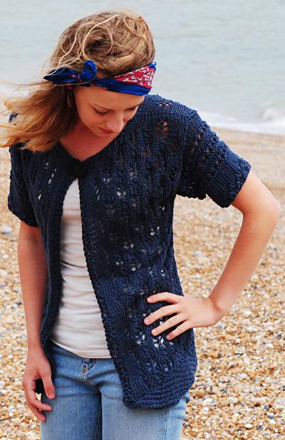Indigo Cones Free lace Cardigan Knit Pattern 1