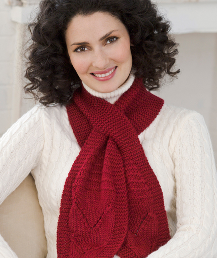 Keyhole Scarf with Lace Knit Pattern