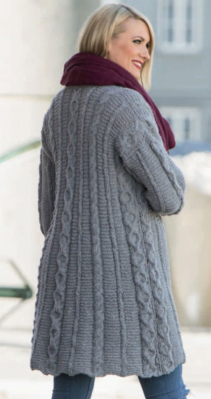 Long Cardigan With Cables And Textures Knitting Bee
