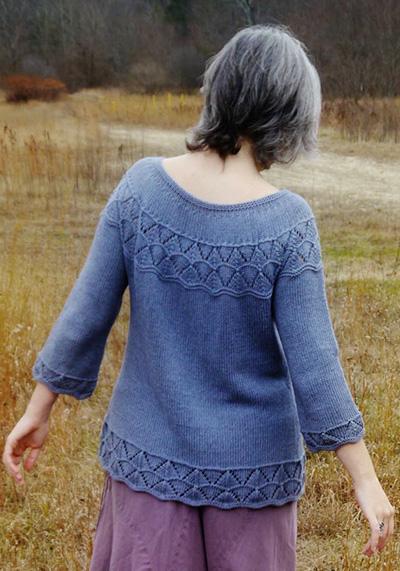 Lorinda Yoke Lace Stitch Cardigan Free Knitting Pattern 1