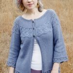 Lorinda Yoke Lace Stitch Cardigan Free Knitting Pattern
