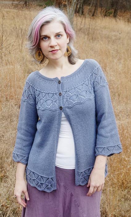 Lorinda Yoke Lace Stitch Cardigan Free Knitting Pattern