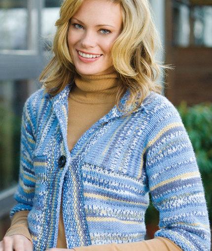 Multi-Directional Striped Cardigan Free Knit Pattern