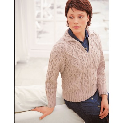 Patons Cabled Free Aran Jacket Knitting Pattern