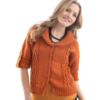 Patons Cables and Collar Cardigan Free Knit Pattern