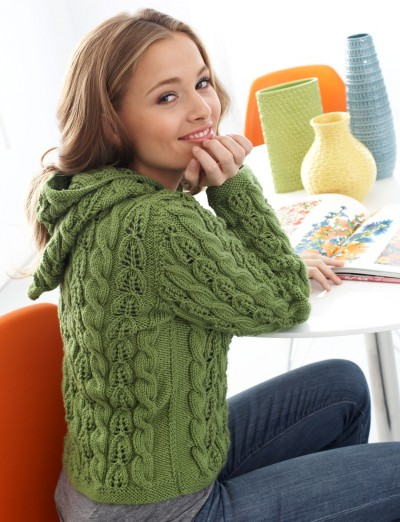 Patons Cables and Lace Hoodie Free Cardigan Knitting Pattern 1