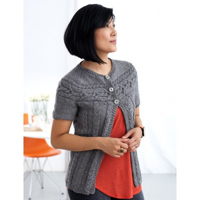 Patons Cardigan with Cabled Yoke Free Intermediate Women's Knit Pattern