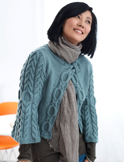 Patons Diagonal Cables Free Intermediate Women's Cardigan Knit Pattern 1