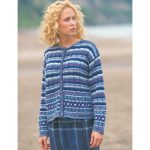 Patons Fair Isle Plaid Cardigan Free Intermediate Women's Knit Pattern