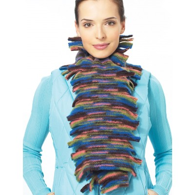 Patons Felted Fringed Scarf Free Easy Women's Knit Pattern