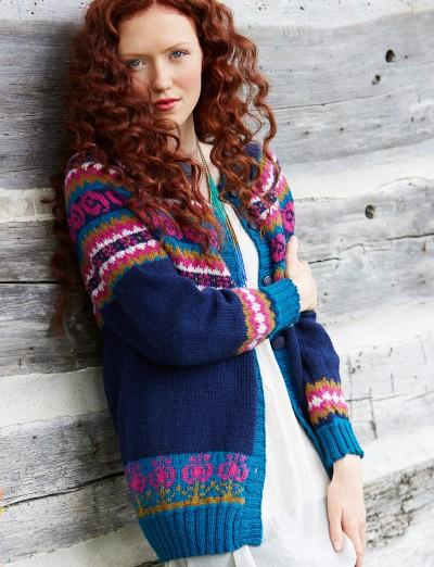 Patons Folksy Yoke Experienced Women's Cardigan Knit Pattern Free 2