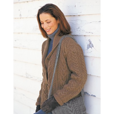 Patons Garter and Cables Jacket Free Intermediate Women's Knit Pattern