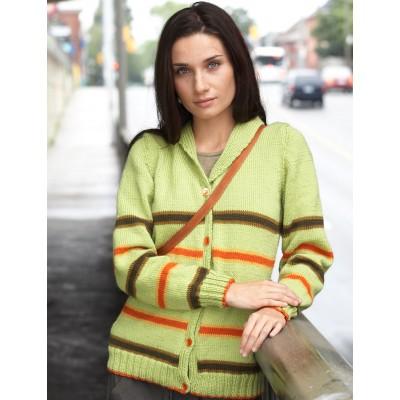 Patons Shawl Collar Striped Cardigan Free Knit Pattern