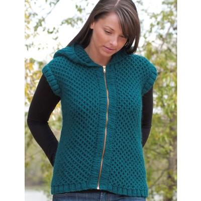 Reverse Honeycomb Hoodie Vest Free Knitting Pattern