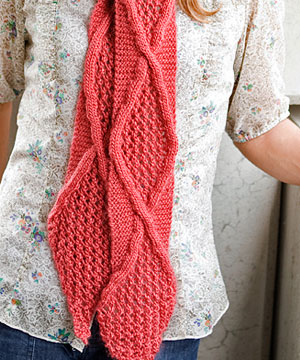Safina free cable and lace scarf knitting pattern
