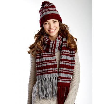 Varsity Stripes Set Hat and Scarf Free Knit Pattern