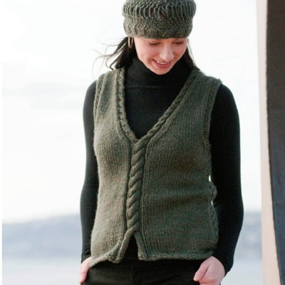 Weskit is a cabled V-neck pullover vest free knitting pattern