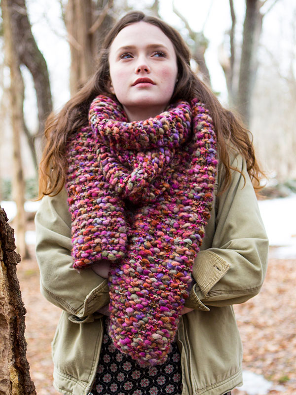 Wood Lily Bulky Garter Stitch Free Scarf Knitting Pattern