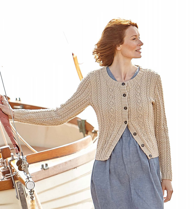 Holkham Delicate Cabled Cardigan Free Knitting Pattern