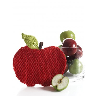 Apple Shaped Dishcloth Free Easy Knit Pattern