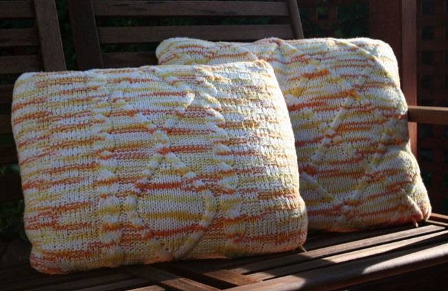 Autumn Cushions Free Cabled Knitting Pattern