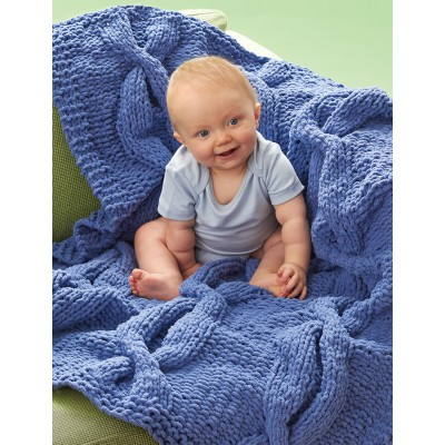 Bernat Coziest Cable Blanket Free Intermediate Knit Pattern