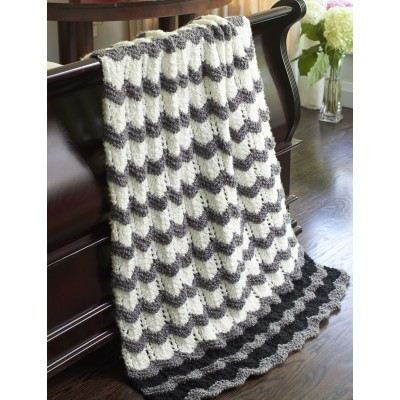 Bernat Stones Throw Ripple Free Easy Knit Pattern Knitting Bee