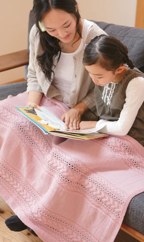 Cable lace and stockinette stitch blanket free knit pattern