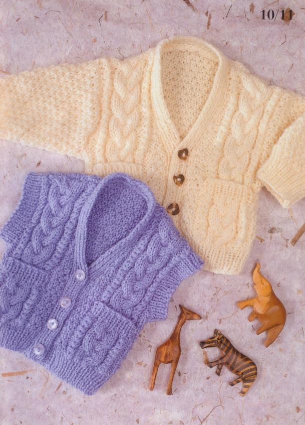 Cabled Waistcoat & Cardigan Knit Pattern for Baby
