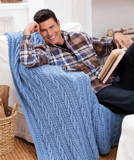 Cables and Bobbles Throw Free Knitting Pattern